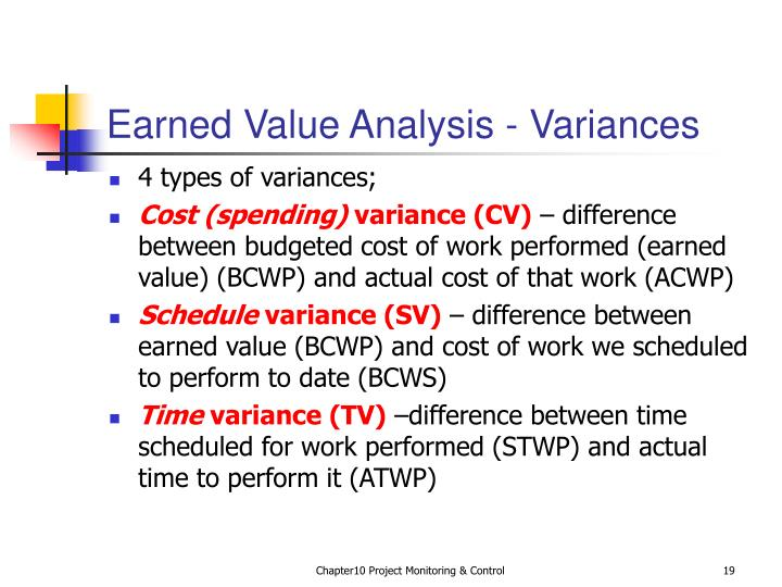 Earned Value Analysis - Variances