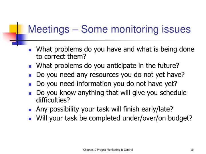 Meetings – Some monitoring issues