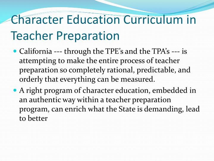 Character Education Curriculum in Teacher Preparation
