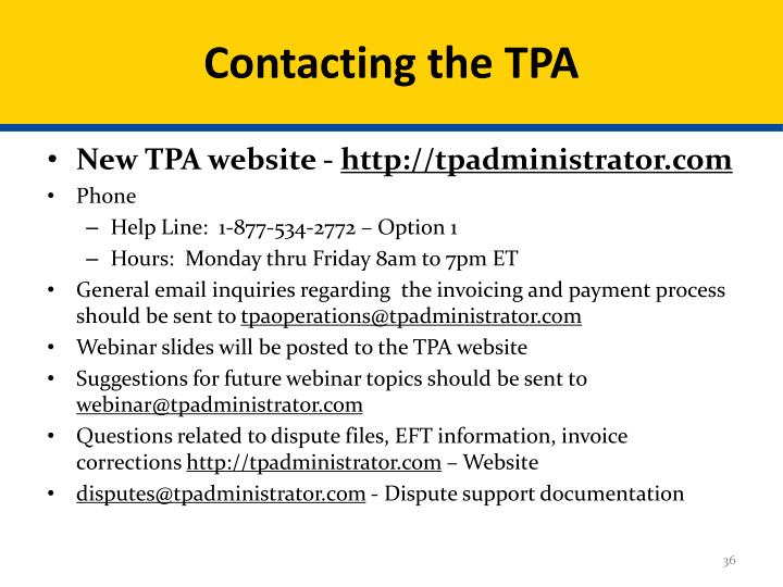 Contacting the TPA