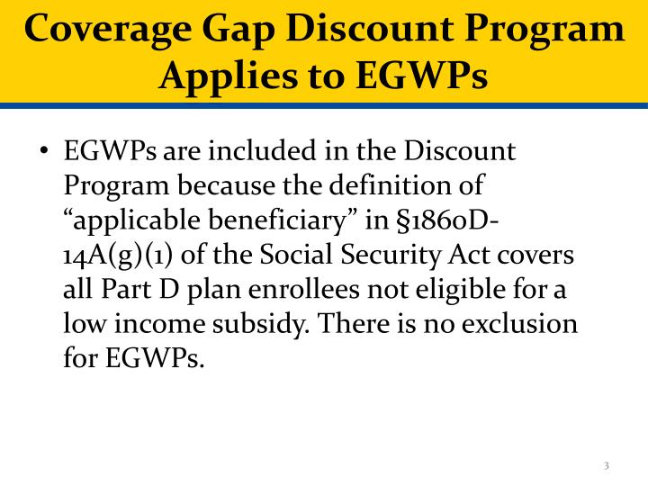 Coverage gap discount program applies to egwps