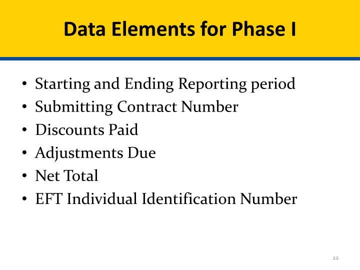 Data Elements for Phase I