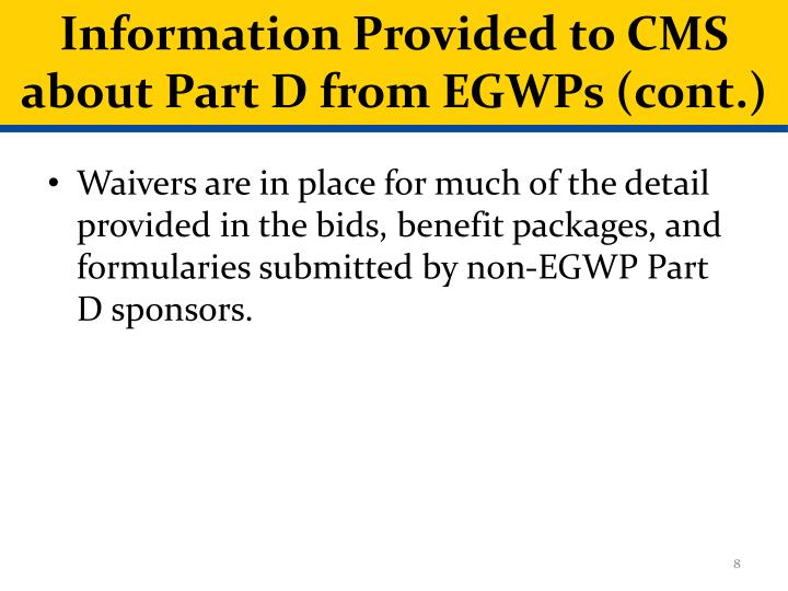 Information Provided to CMS about Part D from