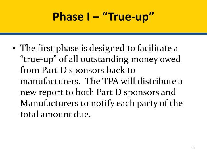 """Phase I – """"True-up"""""""