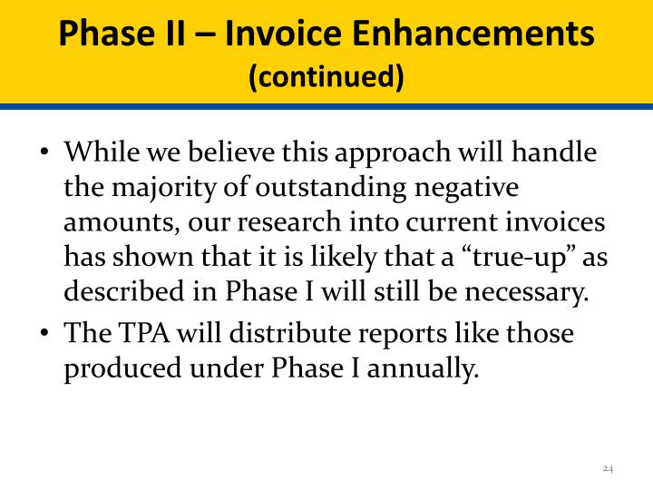 Phase II – Invoice Enhancements