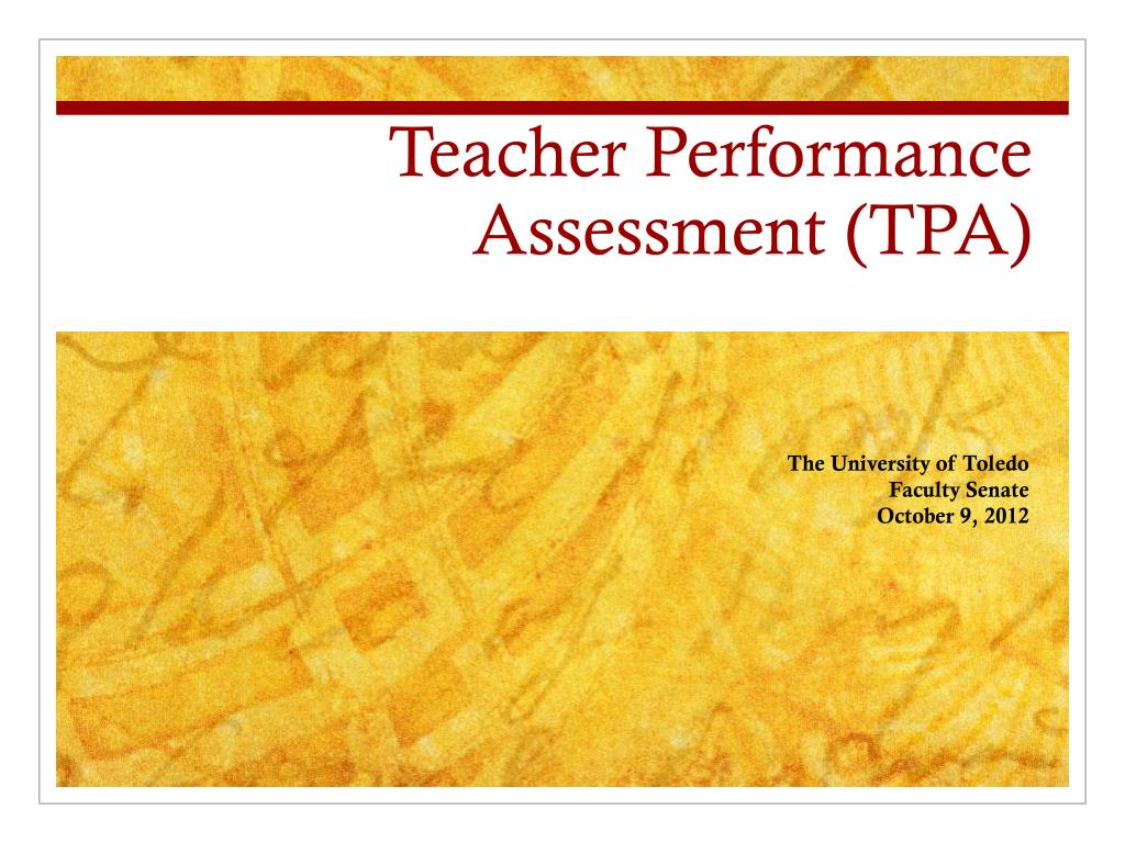 Ppt Teacher Performance Assessment Tpa Powerpoint