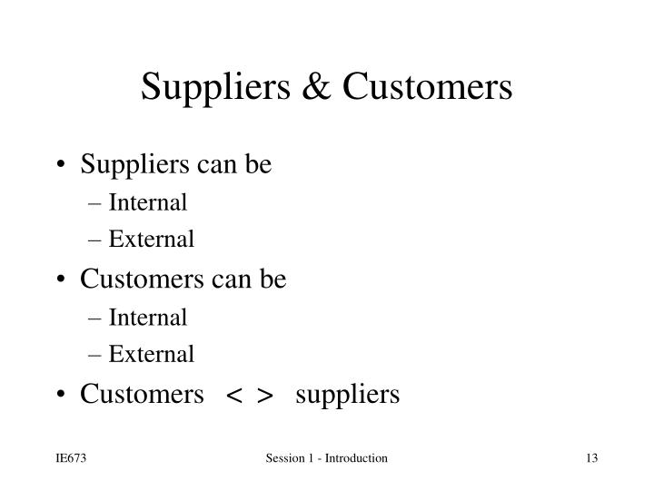 Suppliers can be
