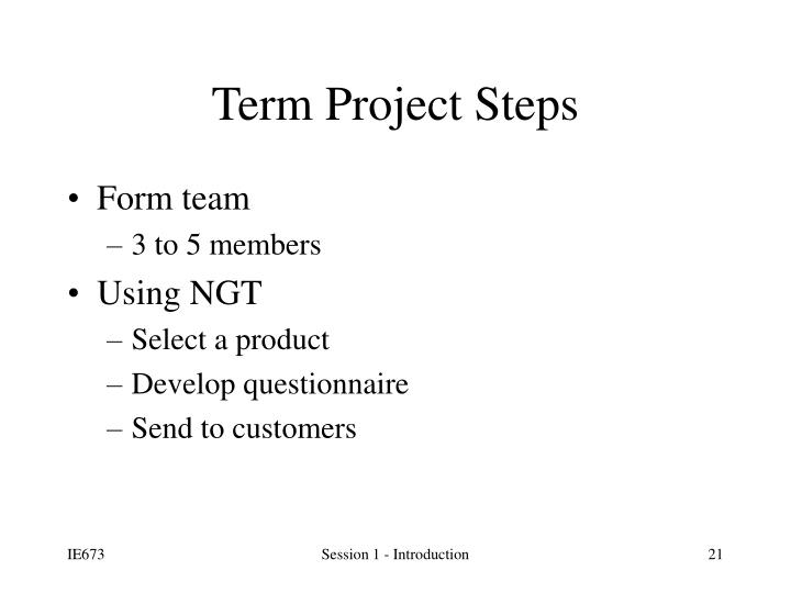 Term Project Steps