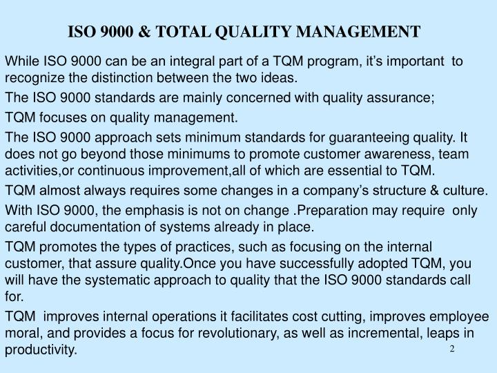 Iso 9000 total quality management