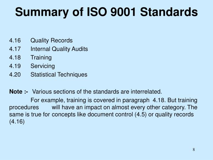 Summary of ISO 9001 Standards