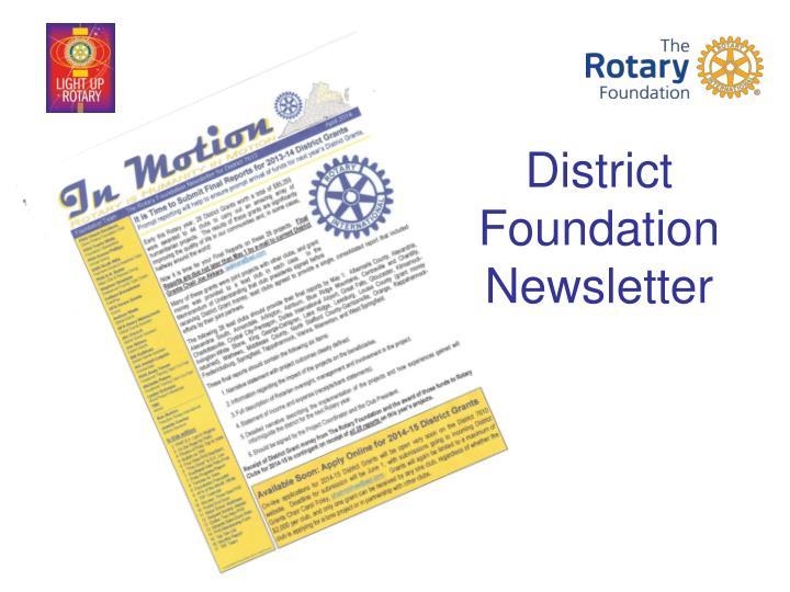 District Foundation Newsletter