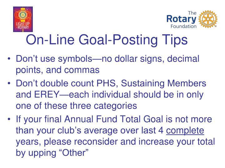 On-Line Goal-Posting Tips
