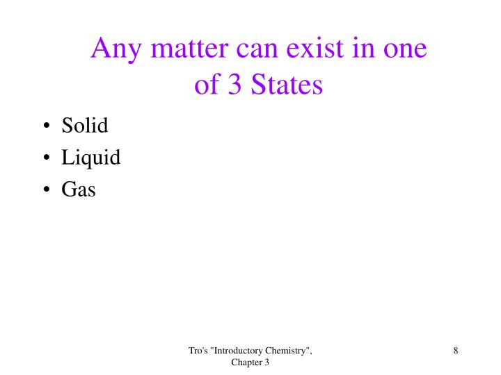 Any matter can exist in one of 3 States