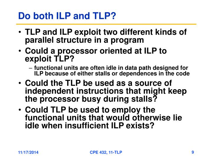 Do both ILP and TLP?