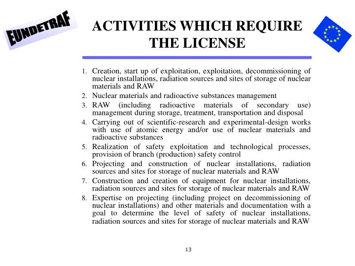 ACTIVITIES WHICH REQUIRE THE LICENSE