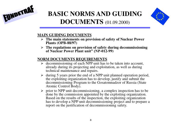 BASIC NORMS AND GUIDING DOCUMENTS