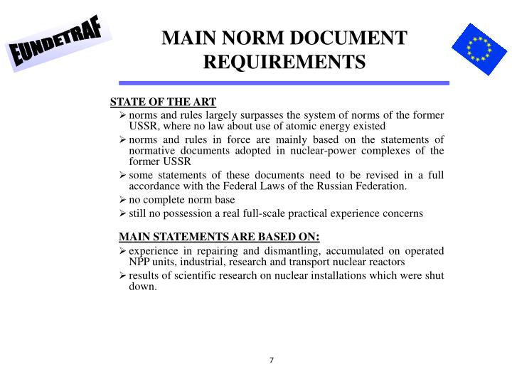 MAIN NORM DOCUMENT REQUIREMENTS