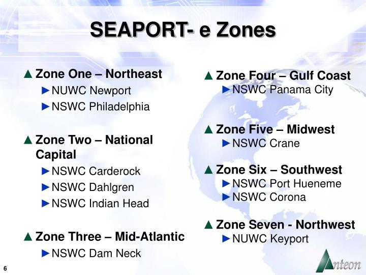 SEAPORT- e Zones