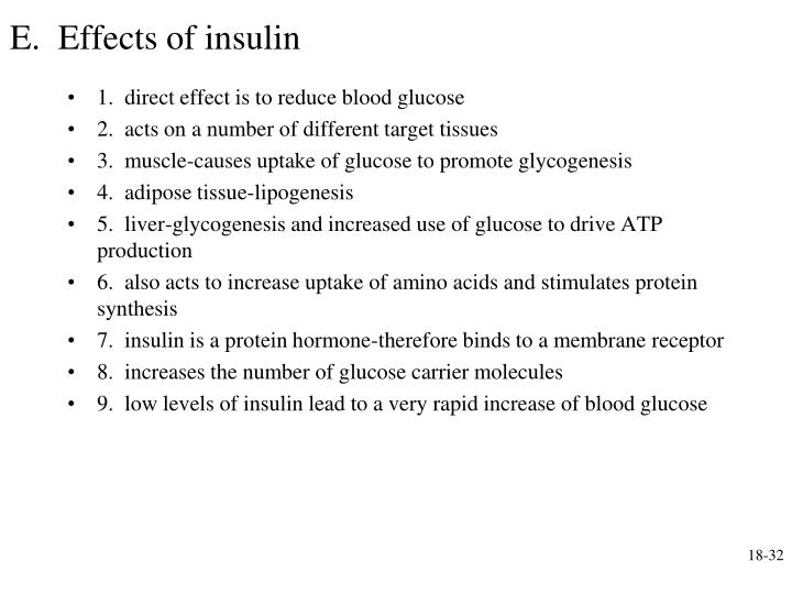 E.  Effects of insulin