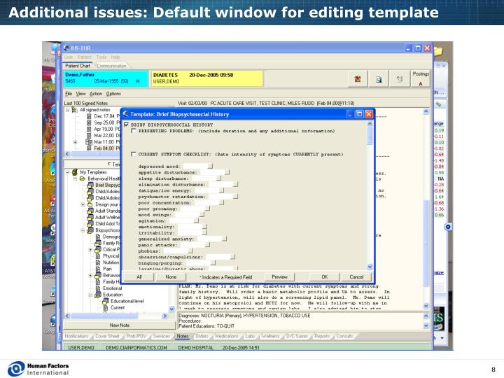 Additional issues: Default window for editing template