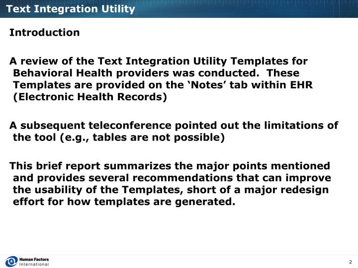 Text integration utility
