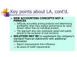 key points about la cont d