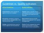 guidelines vs quality indicators