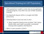 specialized training for lep population