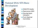 national sna sts basic development