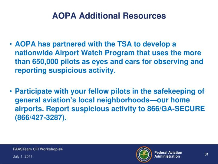 AOPA Additional Resources