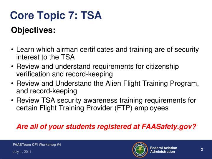 Core topic 7 tsa
