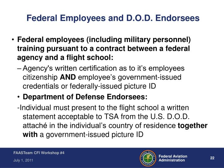 Federal Employees and D.O.D. Endorsees