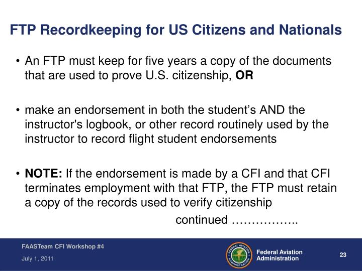 FTP Recordkeeping for US Citizens and Nationals