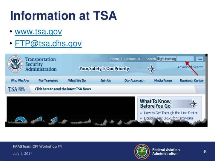 Information at TSA