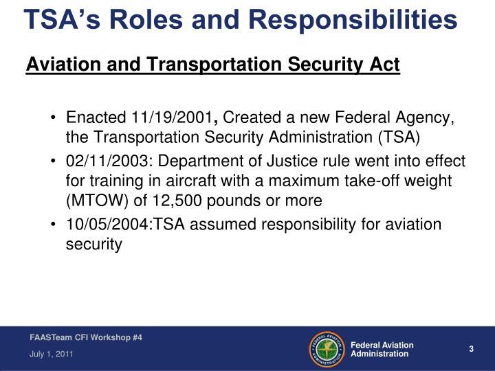 Tsa s roles and responsibilities