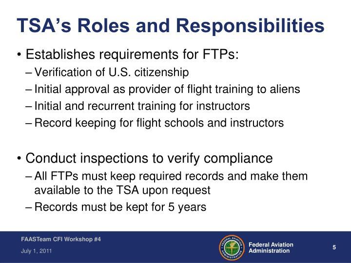 TSA's Roles and Responsibilities