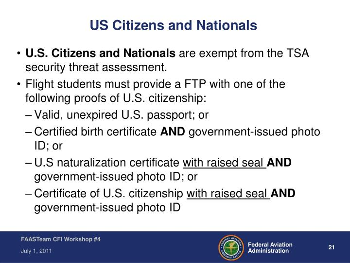 US Citizens and Nationals