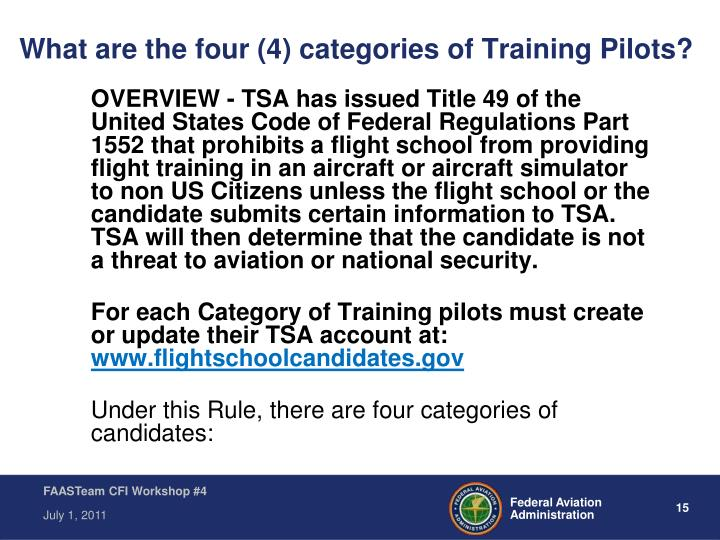 What are the four (4) categories of Training Pilots?