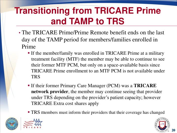 Transitioning from TRICARE Prime and TAMP to TRS