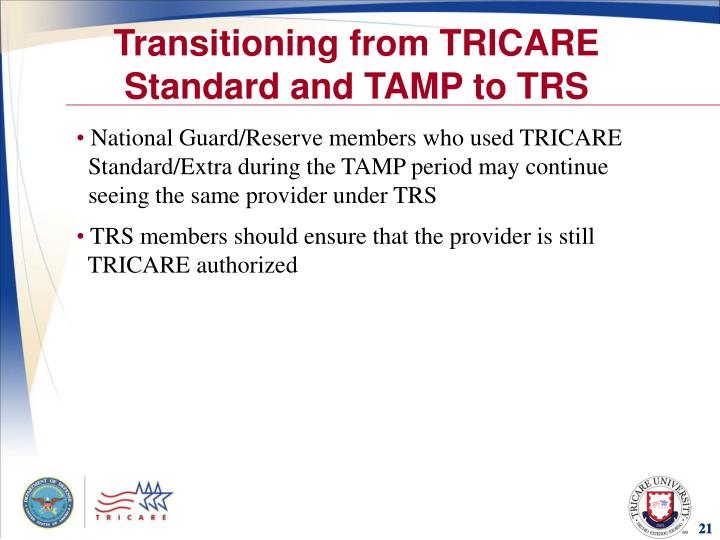 Transitioning from TRICARE Standard and TAMP to TRS
