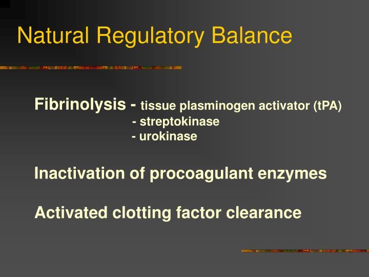 Natural Regulatory Balance