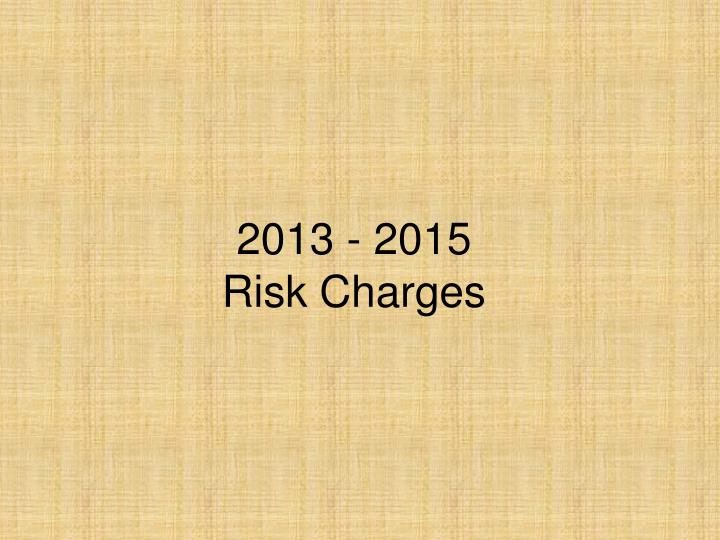 2013 2015 risk charges n.