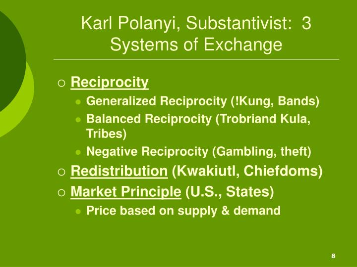 Karl Polanyi, Substantivist:  3 Systems of Exchange