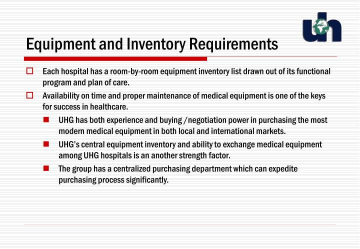 Equipment and Inventory Requirements