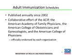 adult immunization schedules
