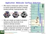 application molecular surface selection