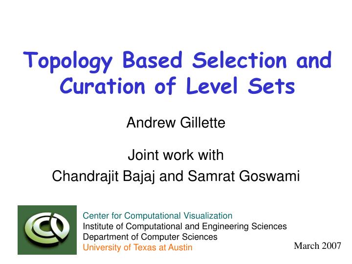 topology based selection and curation of level sets n.
