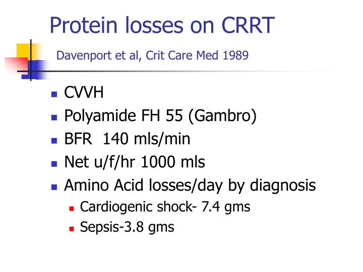 Protein losses on CRRT