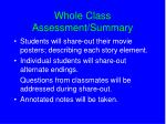 whole class assessment summary