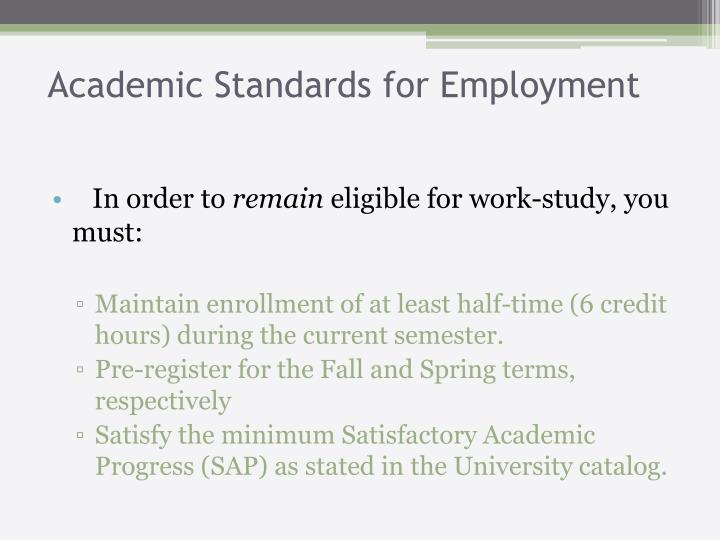 Academic Standards for Employment